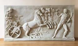 Görög Fríz Részlet - Márvány Dombormű (Relief) - Éósz (Aurora) Görög Istennő Négylovas Fogatában