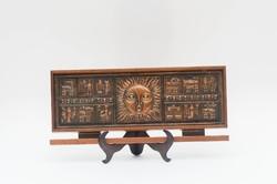 Napocskás zodiákus jeles retro réz/bronz iparművész falikép - domborított lemez fa alapon