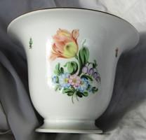 Herendi porcelán kaspó, jelzett 14, 5 cm magas, felső átmérő 21 cm.