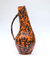Retro iparművész fém váza zománc díszítéssel - sérült