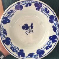 Apátfalvi , Bélapátfalvi népi festett tányér . szőllőlevél mintával