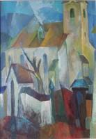 Páll Lajos 'Felsősófalvi unitárius templom' 1988 - olaj festmény,