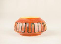 Tófej kerámia váza - retro iparművész váza - narancssárga fekete vonallal