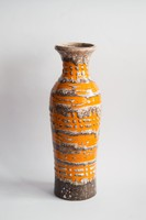 Retro iparművész kerámia váza - narancssárga szürke csíkos
