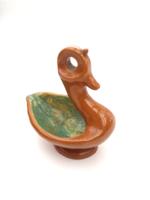 Retro iparművész kerámia kacsa figura - madár tartórésszel