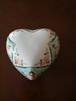 Álomszép Zsolnay perzsa mintás türkiz szívbonbonier nagy, hibátlan, új