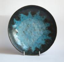 Retro kék-fekete kerámia falitányér - iparművész falidísz