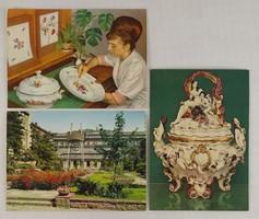 0V490 Meisseni porcelán manufaktúra képeslapok 3db