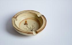 Retro iparművész kerámia hamutál virág mintával - jezett