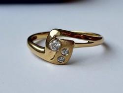 Moissanite köves arany gyűrű (jelzett)