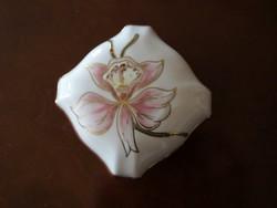Gyönyörű, romantikus Zsolnay orchideás szögletes bonbonier nagy, hibátlan, új