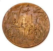 Római életképes öntött bronz falidísz, 1,67 kg.