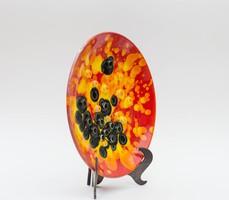 Színrobbanás - érdekes retro iparművész kerámia falitál - domború részekkel