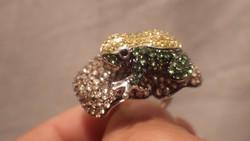 925 ezüst gyűrű ritka egyedi békával , kövekkel díszítve