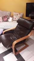 Valódi barna marhabőr relax fotel