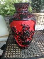 Különleges cinóber váza 24 cm
