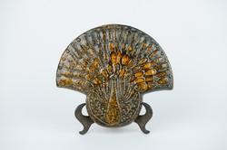 Retro iparművész kerámia páva falikép - talán tihanyi