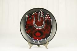 Retro iparművész madaras falitányér - fekete és vörös falidísz - madármama és madárbébi