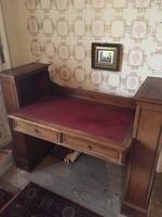 Antik, empire íróasztal oldalsó könyvpolcokkal