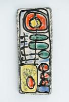Karácsony Zsuzsa retro kerámia falikép - iparművész dekoráció geoemtrikus absztrakt mintával
