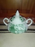 Cukortartó,angol porcelán,jelenetes, eredeti...kiöntővel egyforma mintával.