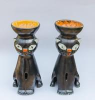 2 db retro iparművész kerámia macska gyertyatartó vagy párologtató