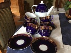 Gyönyörű Lomonoszov teás, kobalt, 6 csésze alátéttel,