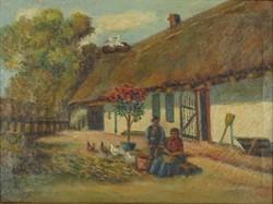 0Q231 Ismeretlen festő : Tanyaudvar gólyákkal