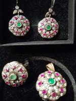 Ezüst, topáz, rubin, smaragd, kézzel készitett fülbevaló,gyürü,medál