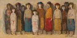 KEDVEZŐ ÁR! Nodar Giunashvili Színes figurák című olajfestménye, VISSZAVÁSÁRLÁSI GRANCIA!