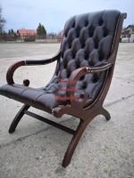 Eredeti chesterfield antik pihenő bőr fotel.