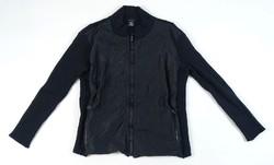 0V898 Versace fekete kötött cipzáras férfi pulóver