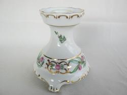 Hollóházi porcelán rózsás gyertyatartó
