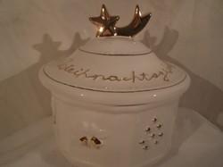 Porcelán - doboz - sütis - régi Német - nagy - aranyozott - 20 x 20 cm - hibátlan