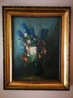 Kloton Péter festmény: Virágcsendélet