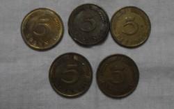 Német pénz - érme, 5 Pfennig (1970-es, 1980-as évek)