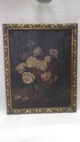 Körömy Jenny 1925 olaj-vászon virágcsendélet festmény keretezve