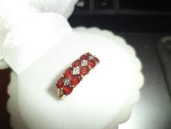 14K arany gyűrű / gránát,brill