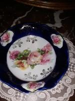 Kék,rózsás kínáló tálka-14 cm