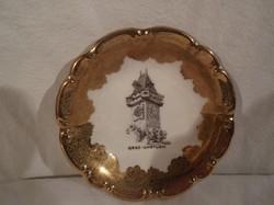 Porcelán - JELZETT - aranyozott vastagon - Német -  tányér - régi 10 cm - tökéletes - hibátlan