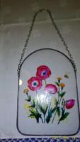Nagyméretű ón keretes festett üveg, pipacsos (ablak)dísz 20 cm magas, 14 cm széles