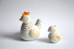Hollóházi retro porcelán pár - tyúkanyó és csibéje, kotlós és kiscsirke - madarak