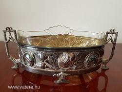 Régi fém ezüstözött asztalközép kínáló üvegbetéttel