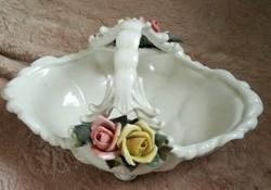 ENS porcelán virágos kosárka