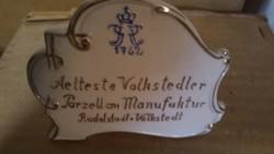 Egyedi Volkstedt porcelán reklám
