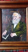 Sipos Csaba : A könyvtárban (olaj vásznon, 24x30 cm) festmény fa keretben /Jeruzsálem tegnap és ma/