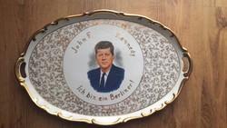 Porcelán tálca John Fitzgerald Kennedy arcképével