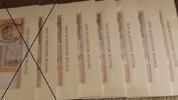 Aranyszálas Millenniumi papír 2000 forintosok 6db sorszámkövető