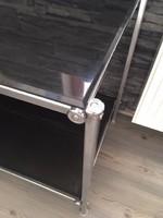 Két szintes üveg konzol asztal