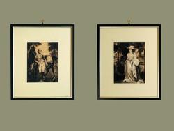 P. Hoehr. 1909-10 Osztrák Akvarell Lovas Katona Hölgy Kalapban Lovasság Huszár